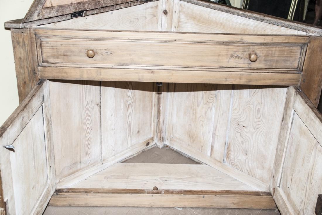 Small Antique Pine Corner Cabinet / Console - 4