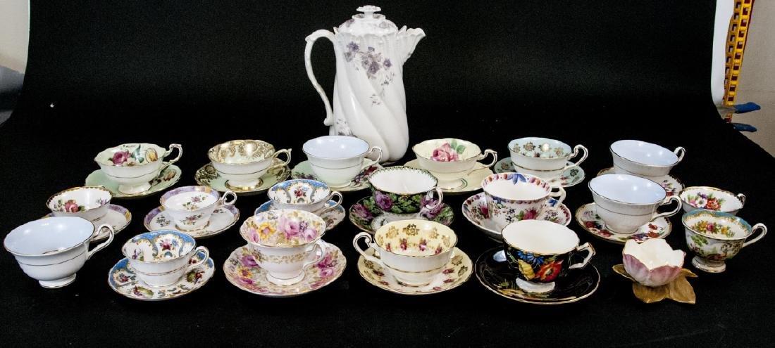 Collection Antique Tea Cups & Saucers Incl Limoges