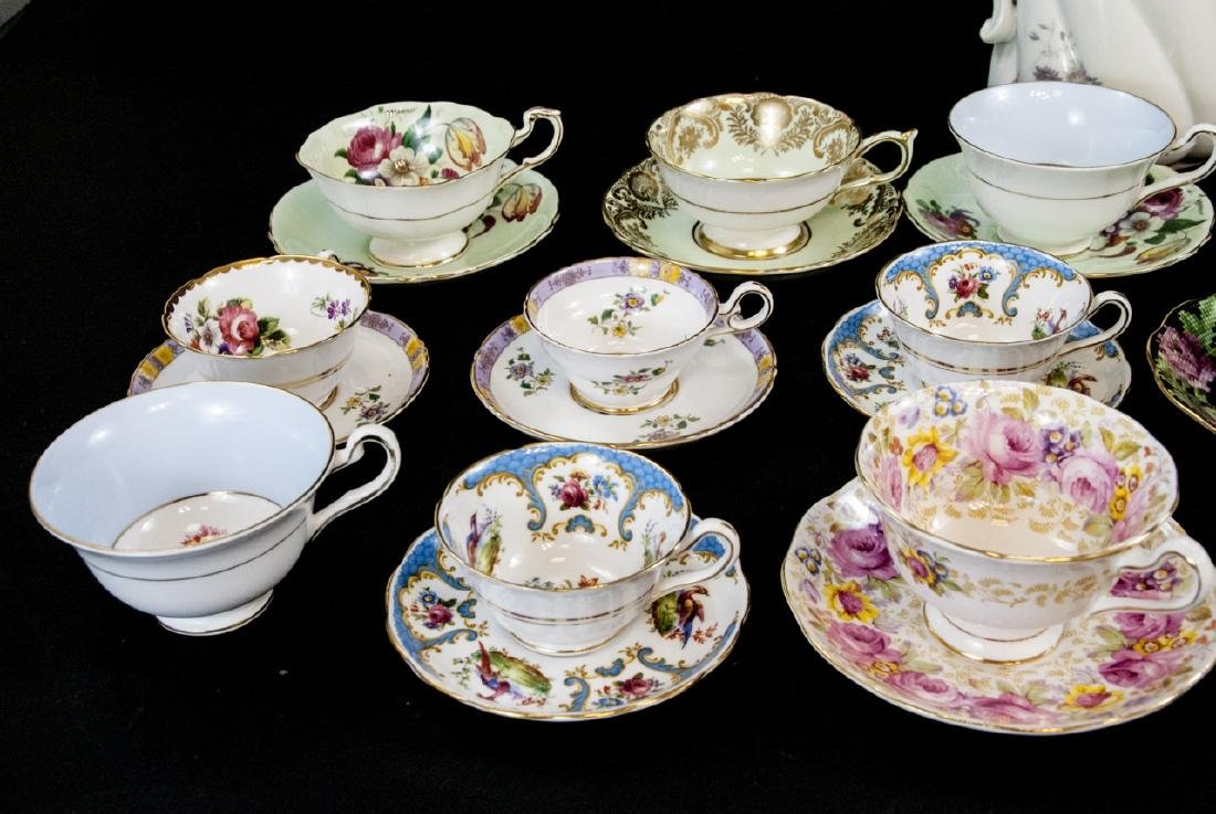 Collection Antique Tea Cups & Saucers Incl Limoges - 9