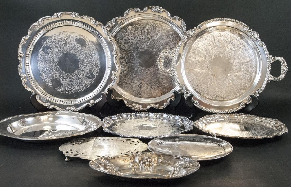 Lot of Silver Plate Serving Trays / Platters