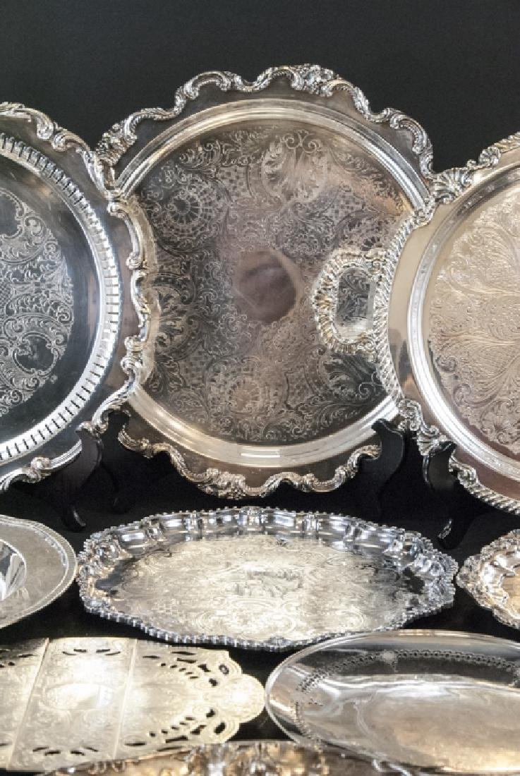 Lot of Silver Plate Serving Trays / Platters - 5