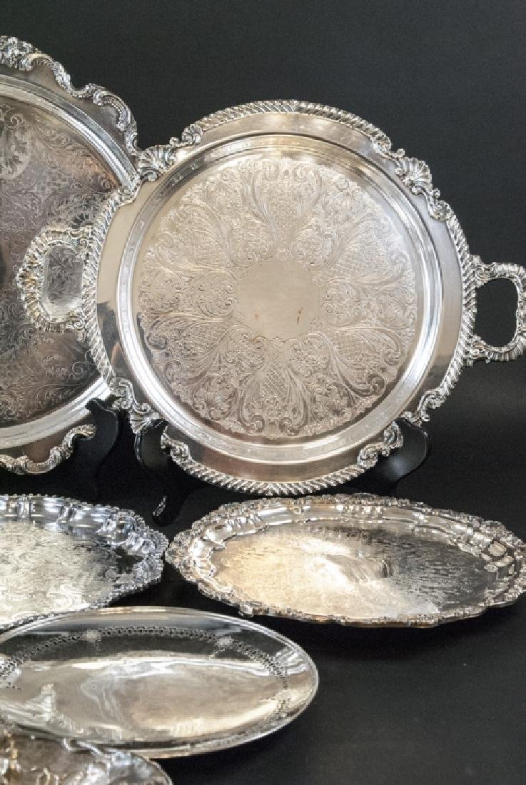 Lot of Silver Plate Serving Trays / Platters - 6