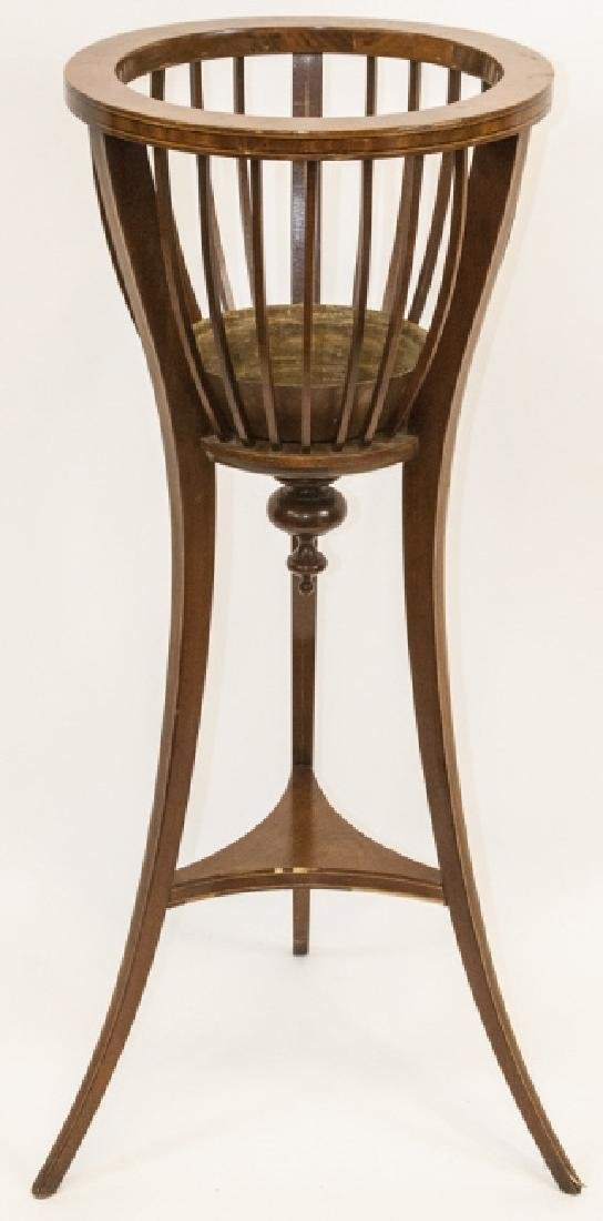 Ant. Regency Style Inlaid Mahogany Plant Stand