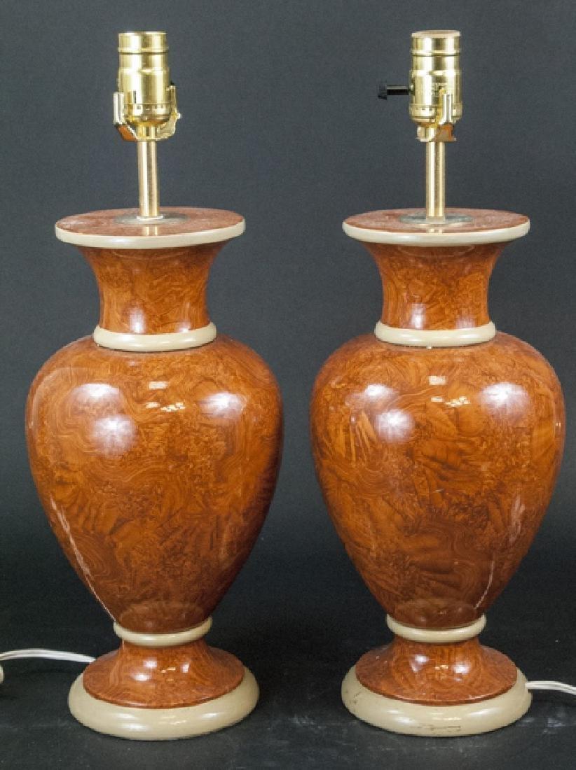 Pair Vtg Italian Marbleized Ceramic Table Lamp