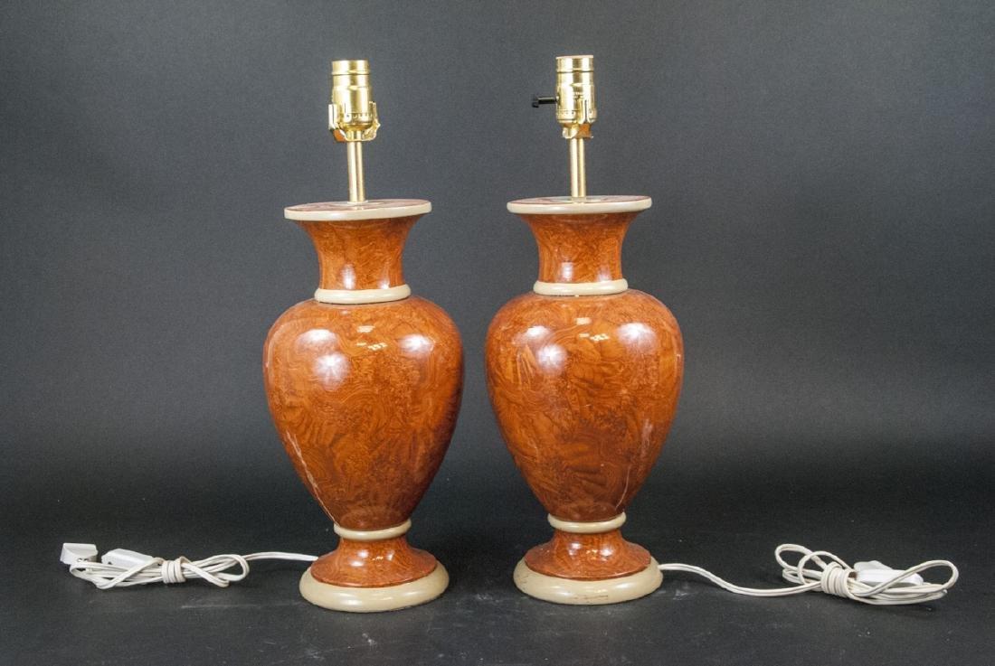 Pair Vtg Italian Marbleized Ceramic Table Lamp - 2