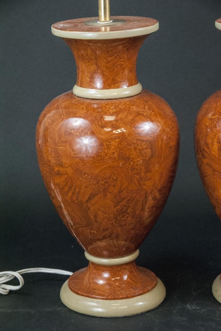 Pair Vtg Italian Marbleized Ceramic Table Lamp - 3