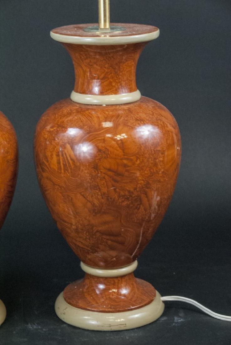 Pair Vtg Italian Marbleized Ceramic Table Lamp - 4