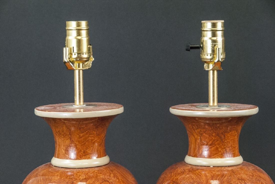 Pair Vtg Italian Marbleized Ceramic Table Lamp - 5