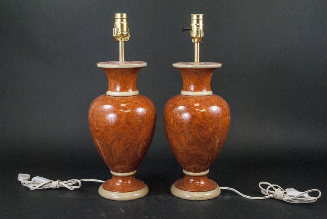 Pair Vtg Italian Marbleized Ceramic Table Lamp - 6