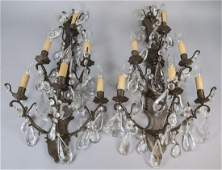 Pair Mid C Chapman Brass  Crystal Wall Sconces