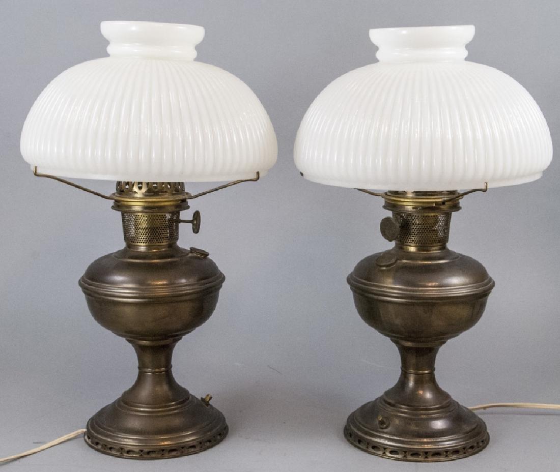 Pr.  Aladdin Converted Oil Lamps Milk Glass Shades