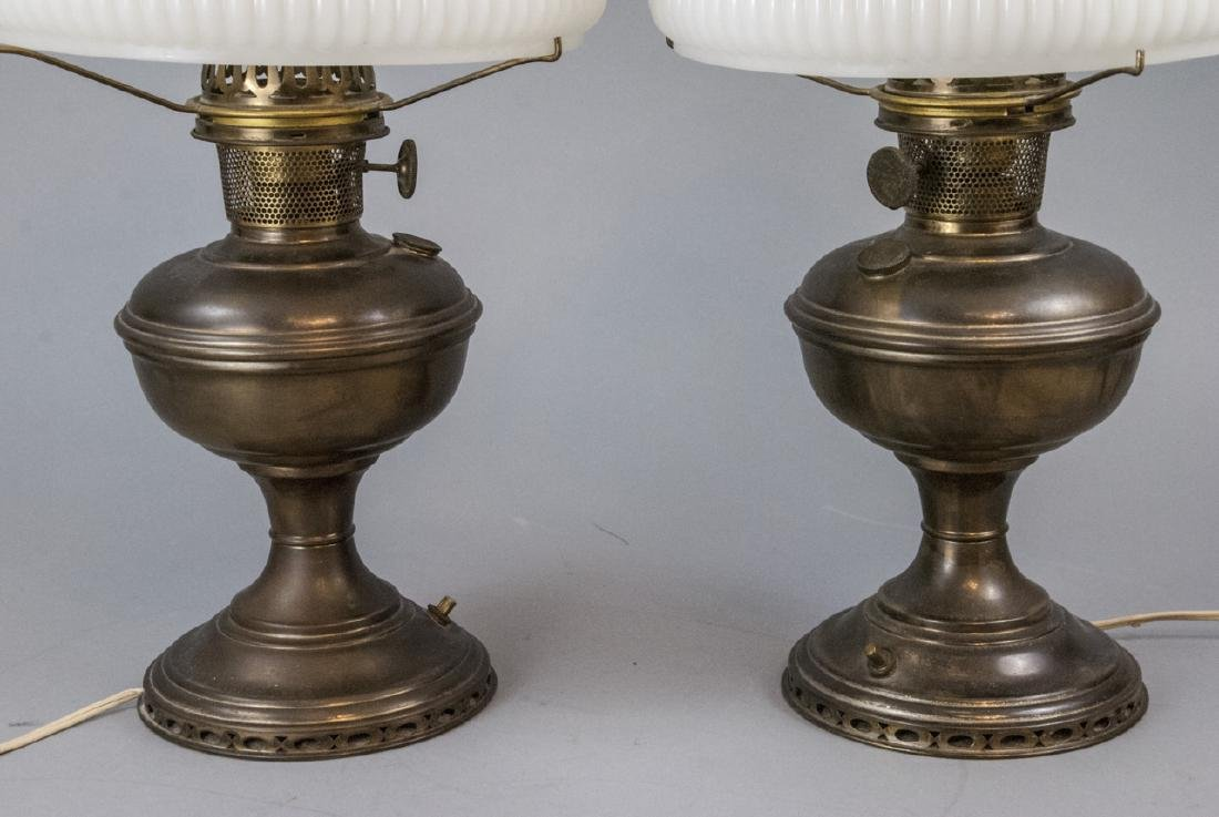 Pr.  Aladdin Converted Oil Lamps Milk Glass Shades - 2