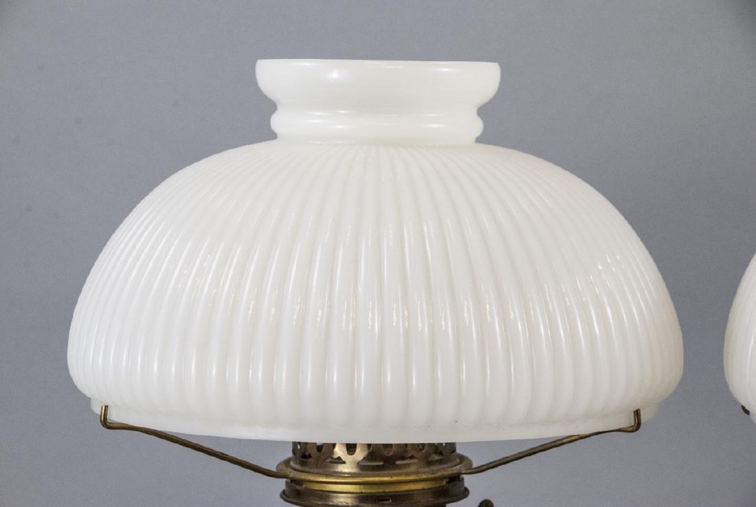 Pr.  Aladdin Converted Oil Lamps Milk Glass Shades - 3