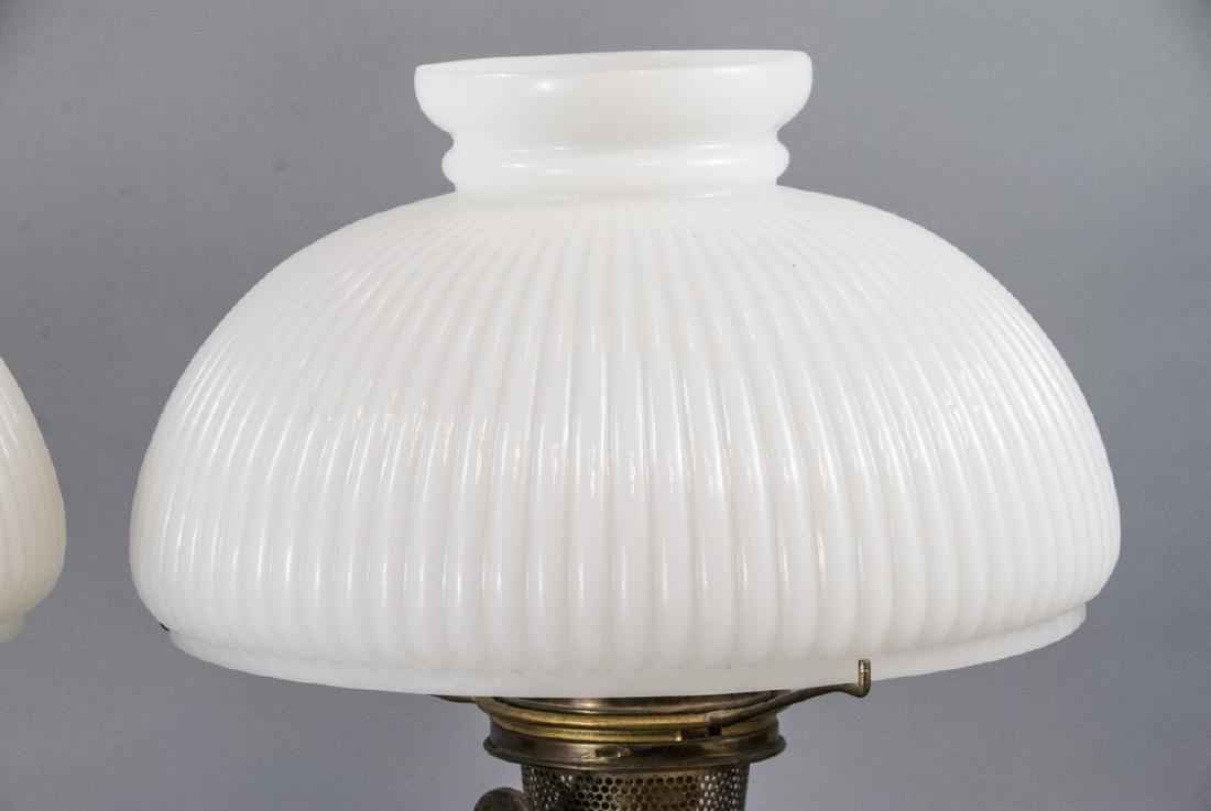 Pr.  Aladdin Converted Oil Lamps Milk Glass Shades - 4
