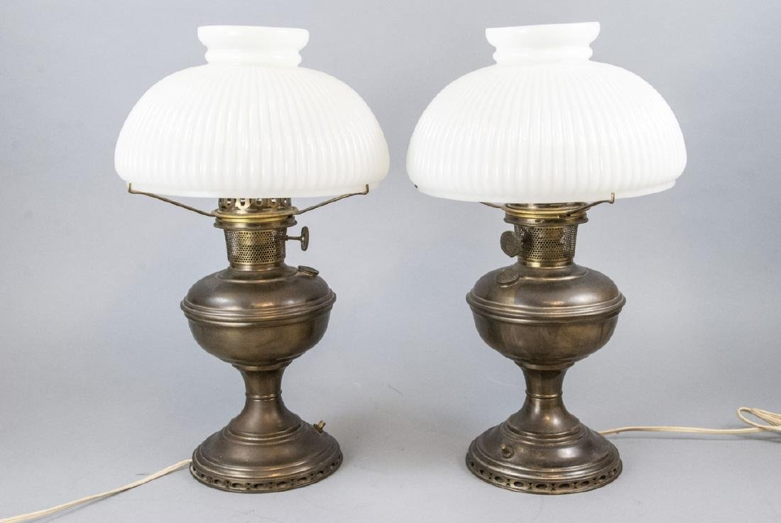 Pr.  Aladdin Converted Oil Lamps Milk Glass Shades - 5
