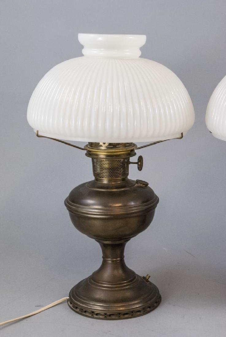 Pr.  Aladdin Converted Oil Lamps Milk Glass Shades - 6