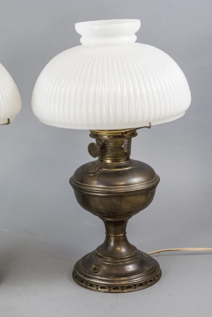 Pr.  Aladdin Converted Oil Lamps Milk Glass Shades - 7