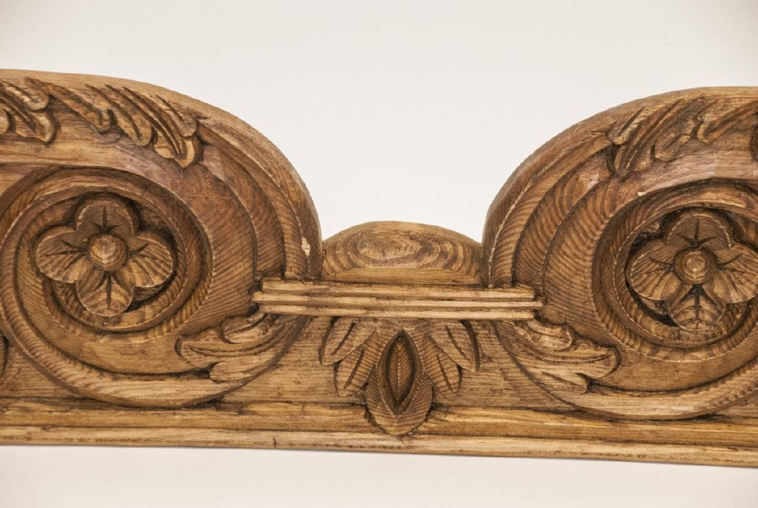 Arts + Crafts Style Hand Carved Oak Pediment - 4