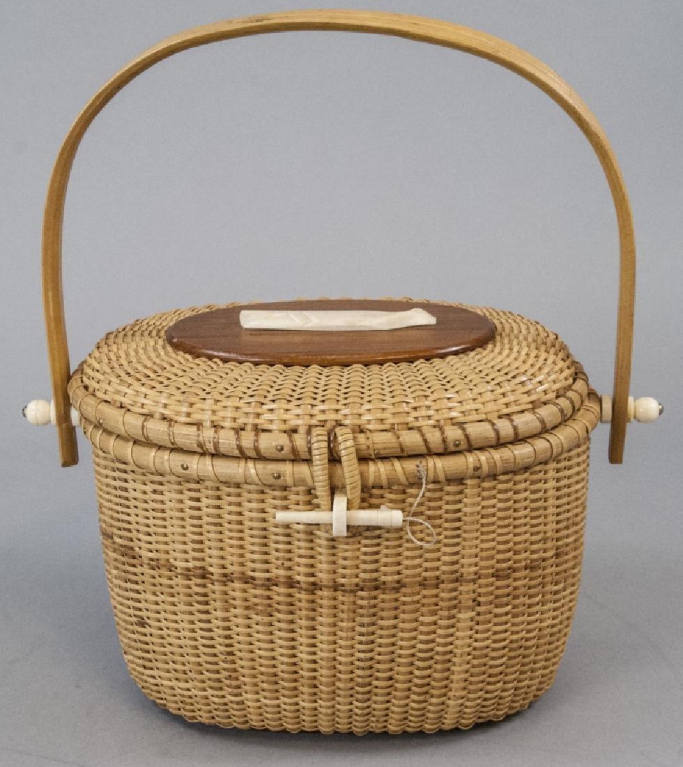 Vintage Nantucket Basket Handbag Carved Whale