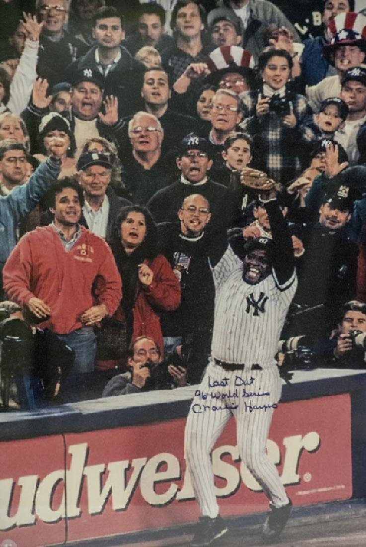 Signed Charlie Hayes 1996 World Series Photograph - 2