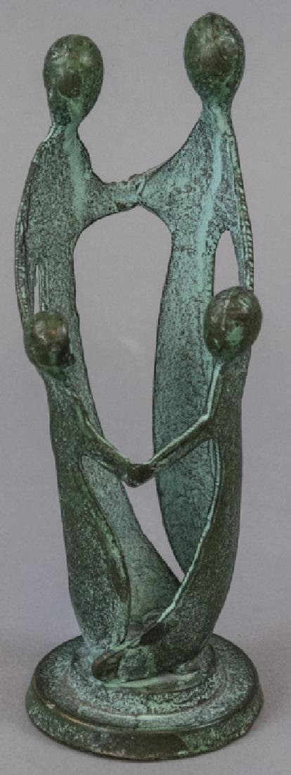 Bronze Mid Century Sculpture Family Holding Hands
