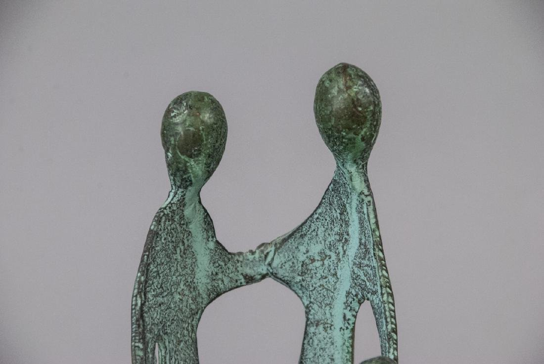 Bronze Mid Century Sculpture Family Holding Hands - 4