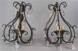 Pair Wrought Iron and Crystal Hall Chandeliers
