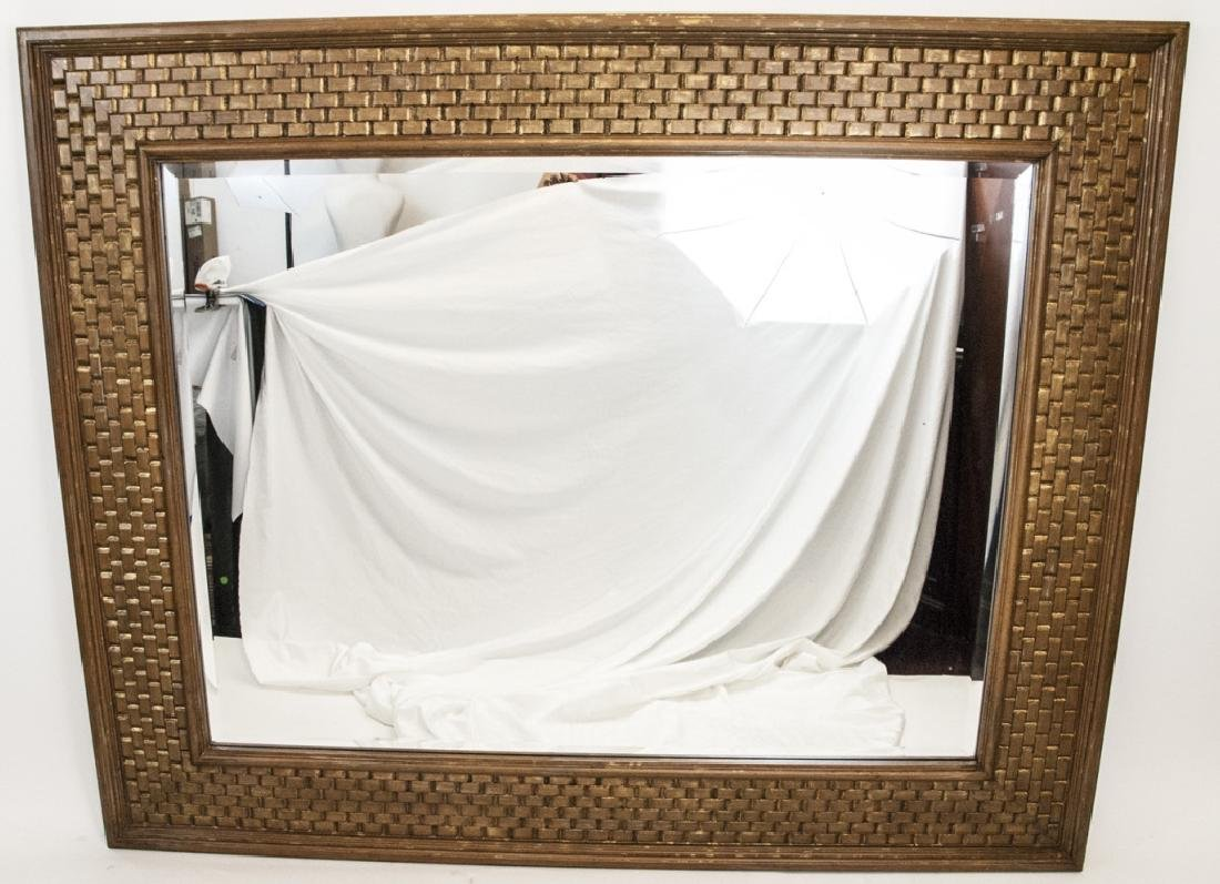 Large Modern La Barge Gilt Wood Woven Mirror