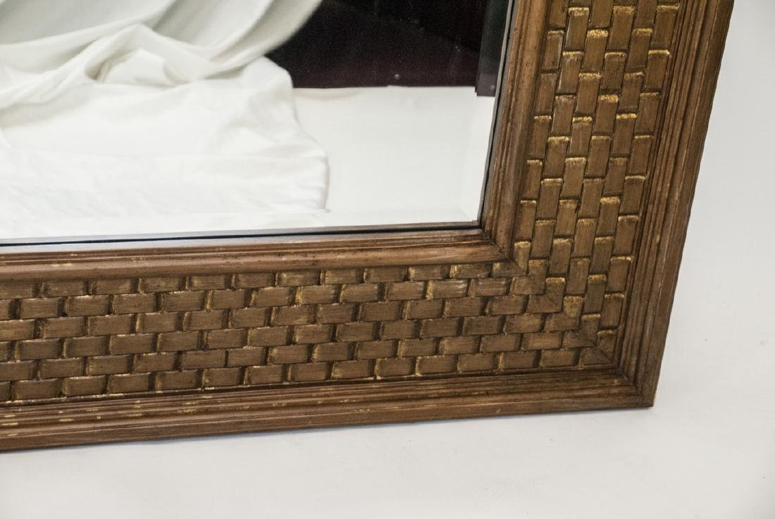 Large Modern La Barge Gilt Wood Woven Mirror - 3