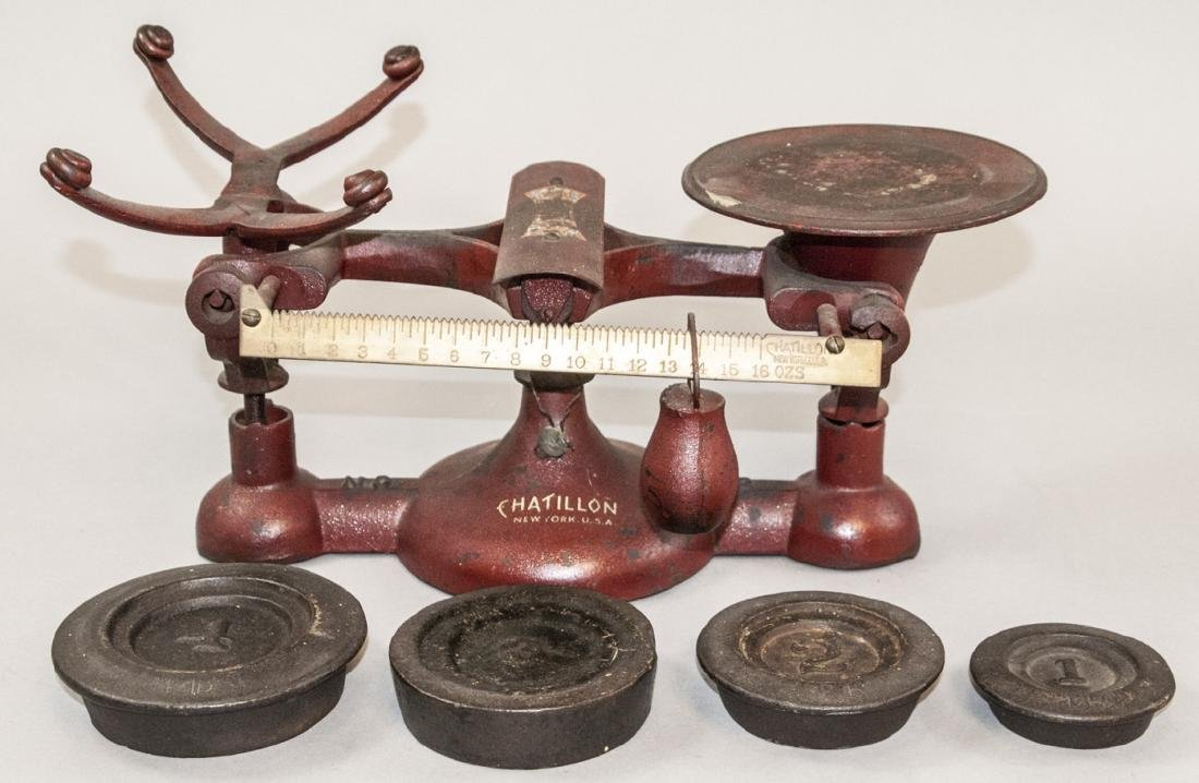 Vintage Chatillon Weighing Scale W Weights
