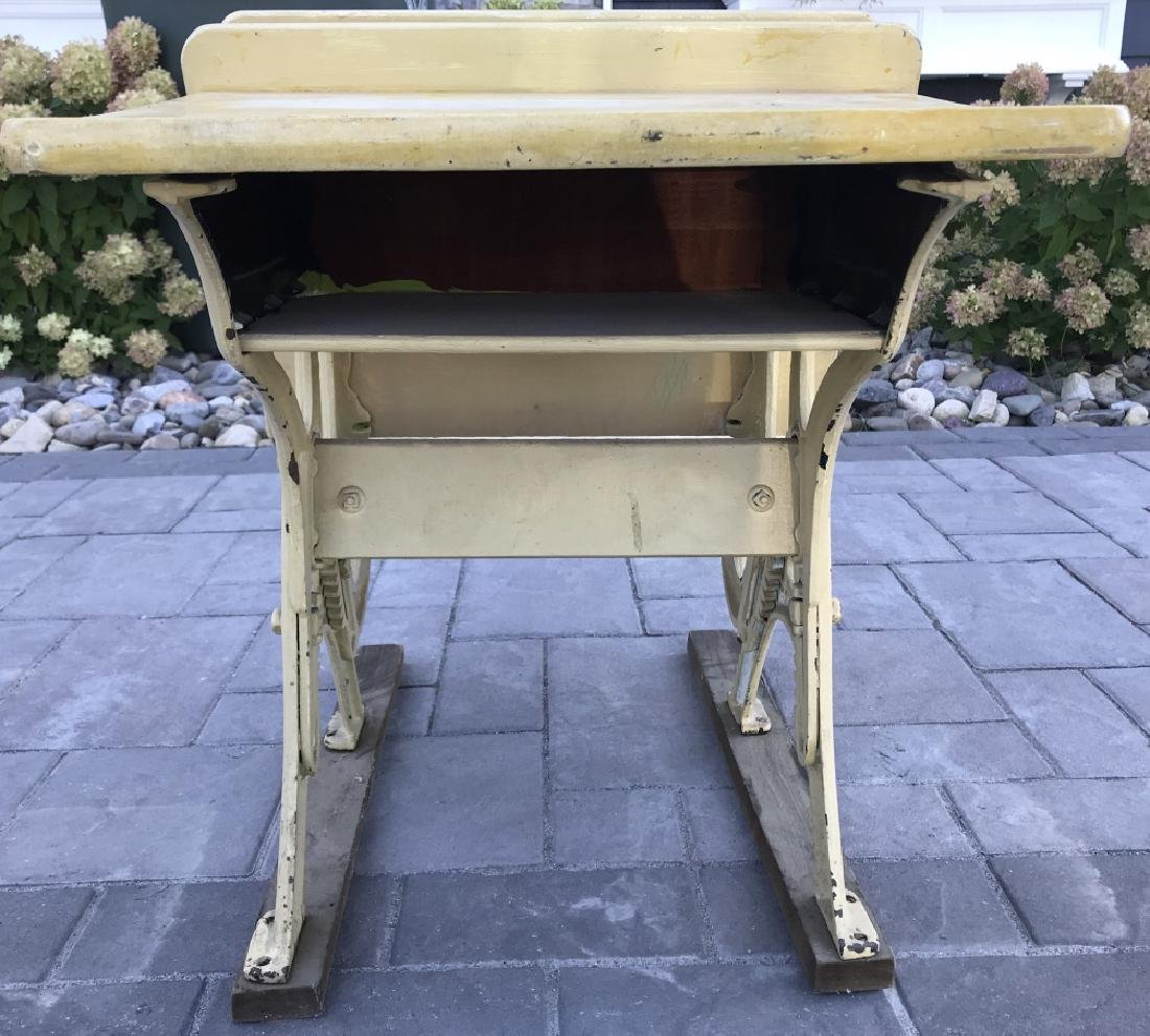 Vintage Metal & Wood Children's School Desk - 6