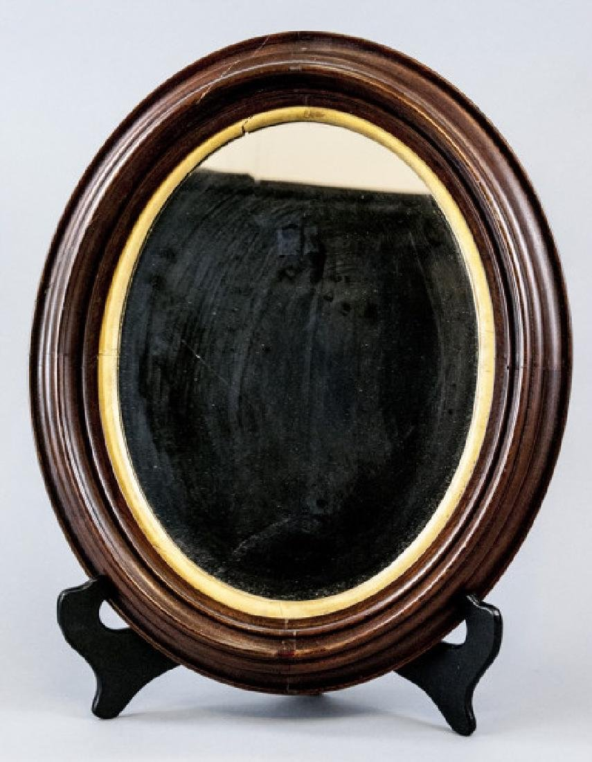 Vintage Cherry Mahogany & Gilt Wood Oval Mirror
