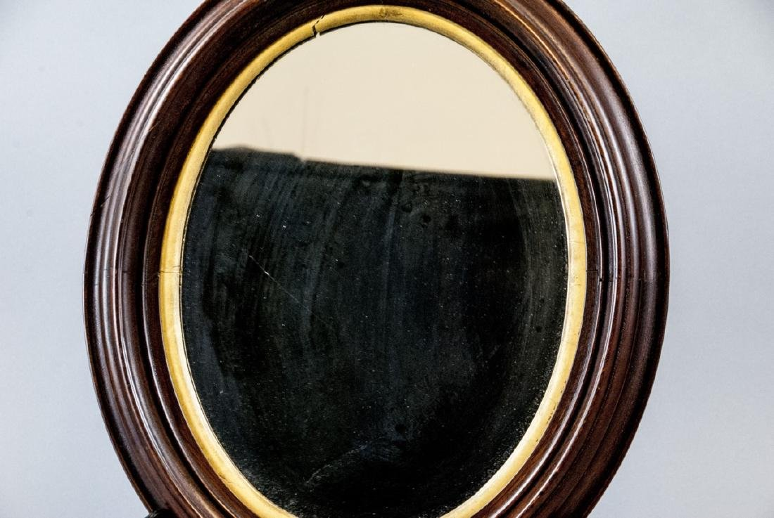 Vintage Cherry Mahogany & Gilt Wood Oval Mirror - 4