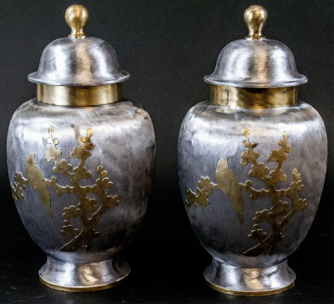 Pair Brass & Nickel Asian Style Lidded Urns