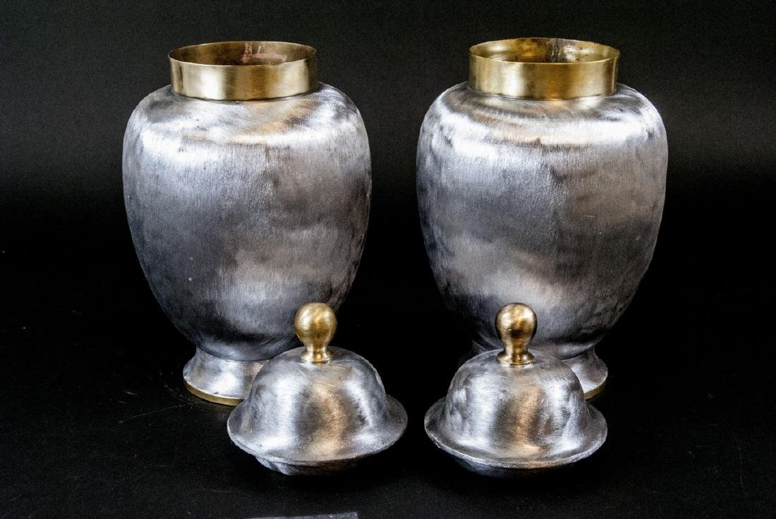 Pair Brass & Nickel Asian Style Lidded Urns - 6