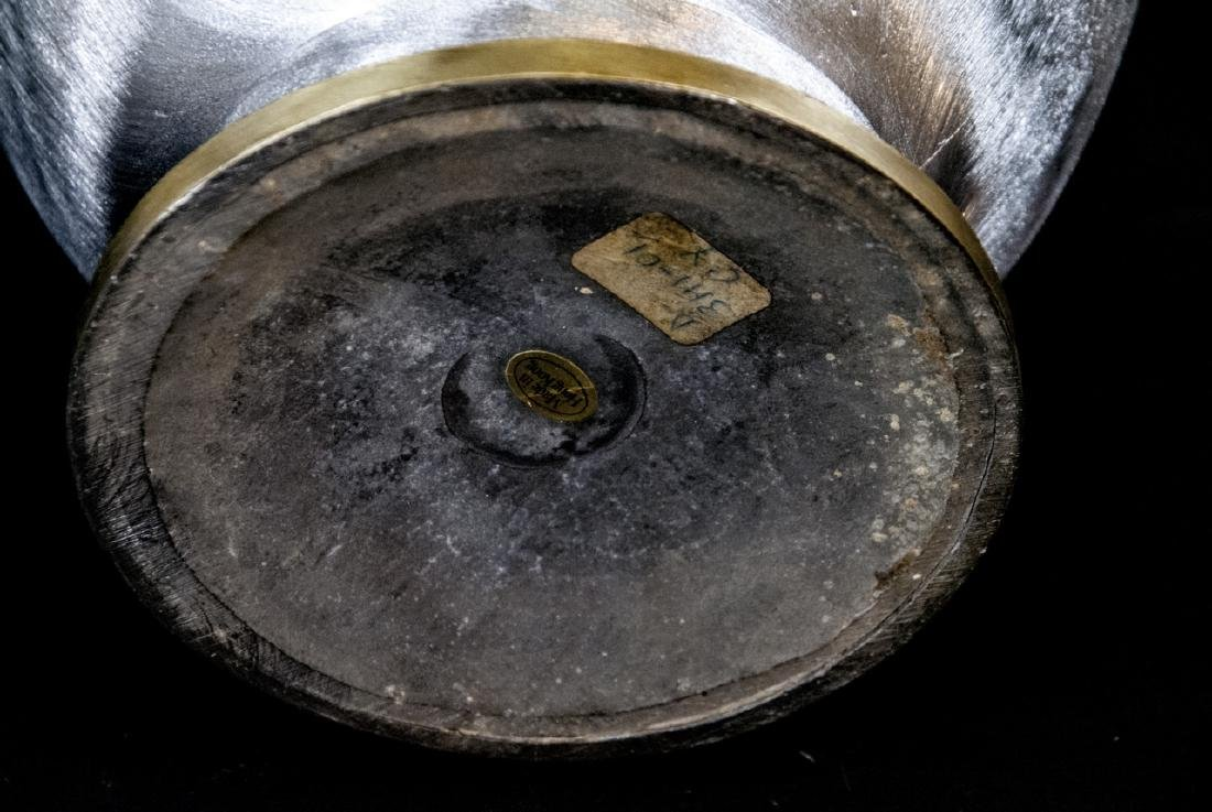 Pair Brass & Nickel Asian Style Lidded Urns - 7