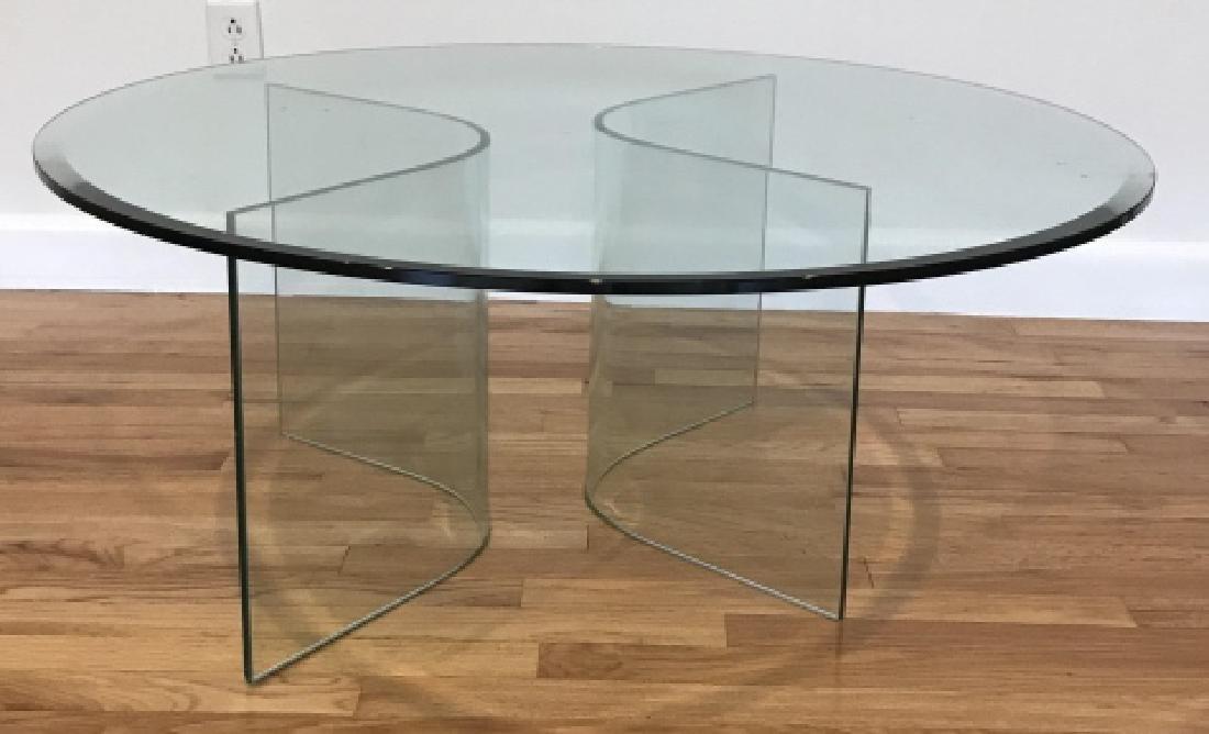 Mid C Modern Beveled Glass Coffee Table