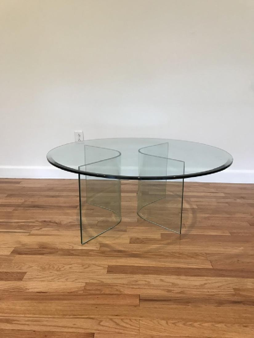 Mid C Modern Beveled Glass Coffee Table - 2