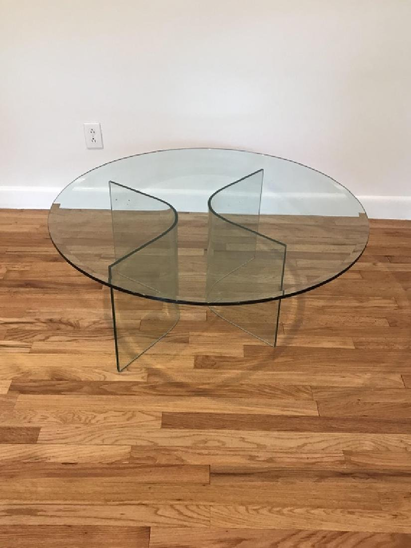 Mid C Modern Beveled Glass Coffee Table - 3