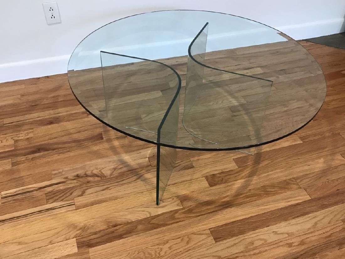 Mid C Modern Beveled Glass Coffee Table - 4