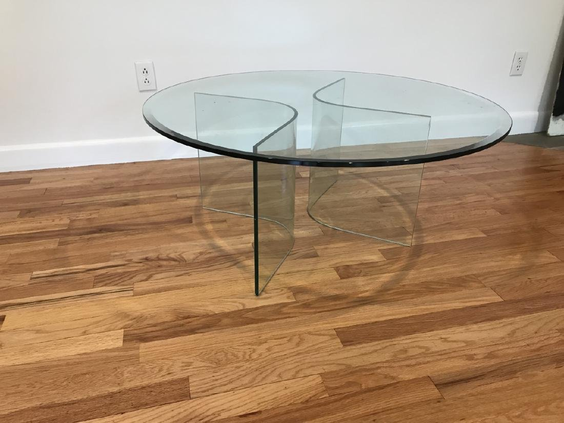 Mid C Modern Beveled Glass Coffee Table - 7