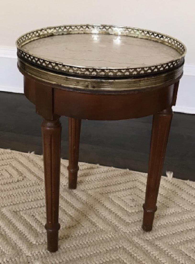 Louis XVI Style Small Side End Table W Marble Top