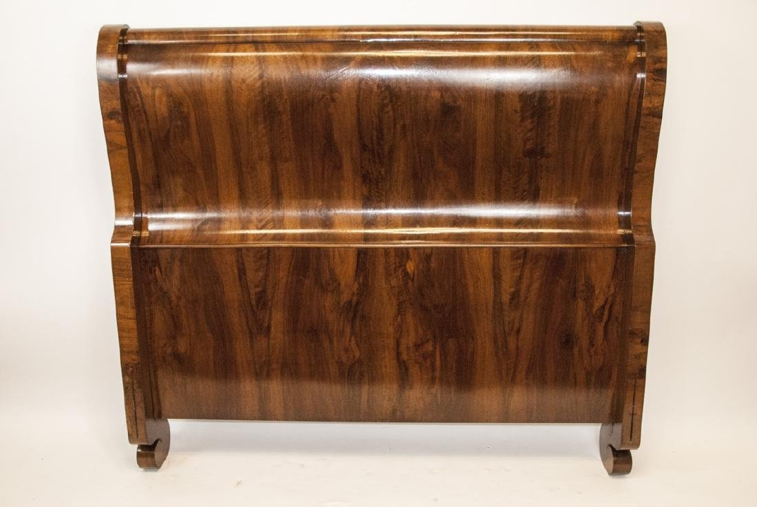 Traditional Style Burled Mahogany Sleigh Bed - 4