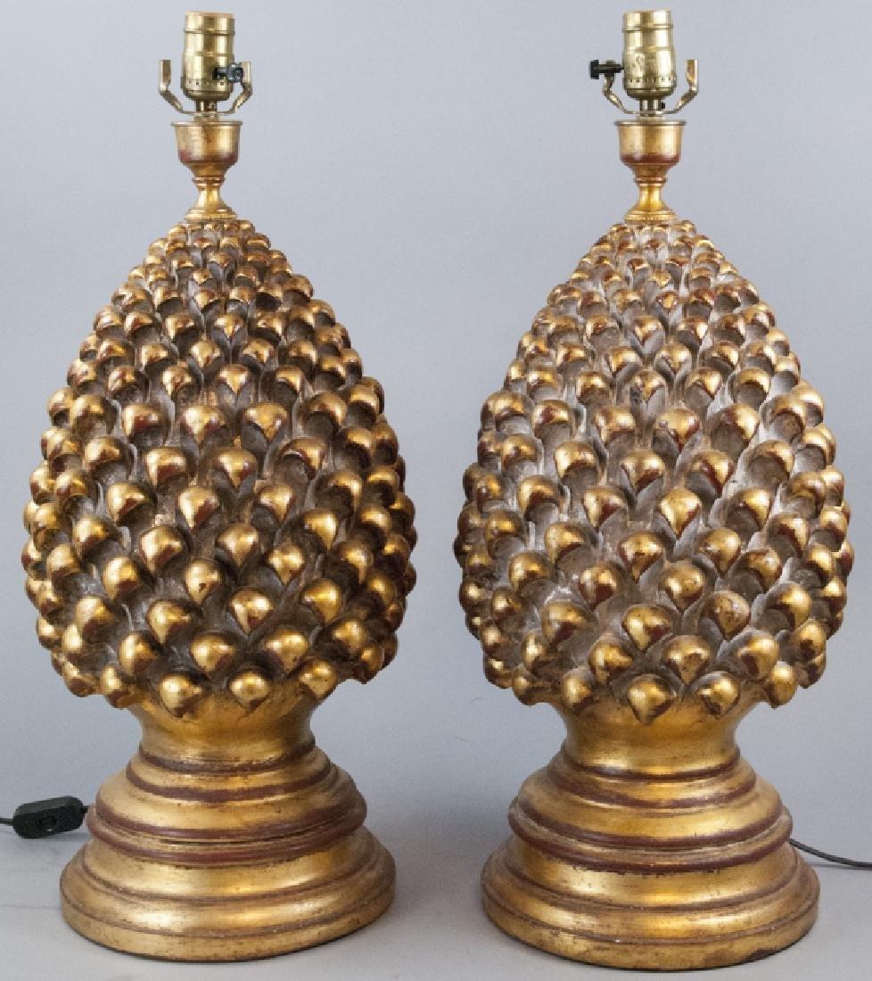 2 Contemporary Gesso & Gilt Artichoke Table Lamps