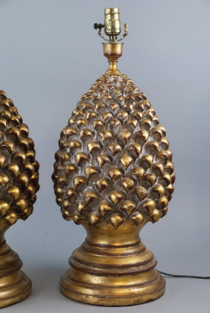 2 Contemporary Gesso & Gilt Artichoke Table Lamps - 2