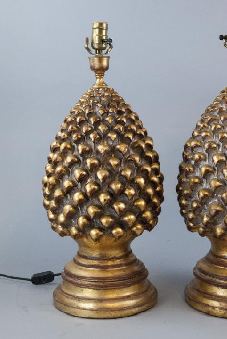 2 Contemporary Gesso & Gilt Artichoke Table Lamps - 5