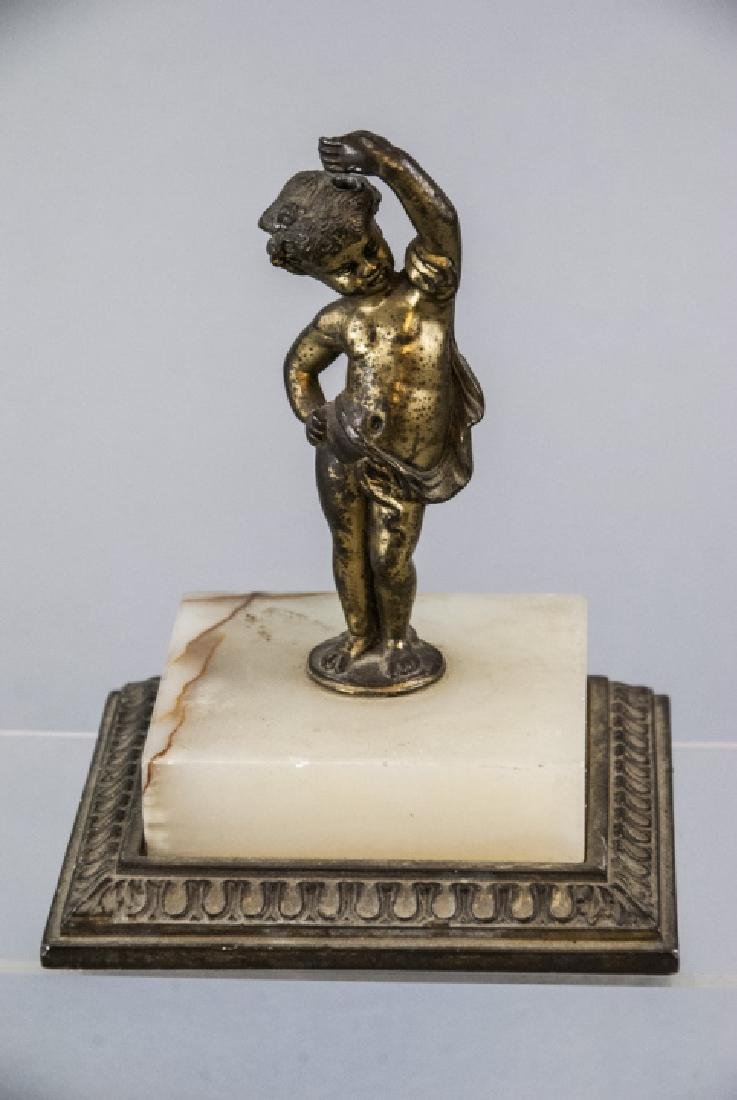 Antique Statue of a Cherub on a Carved Marble Base