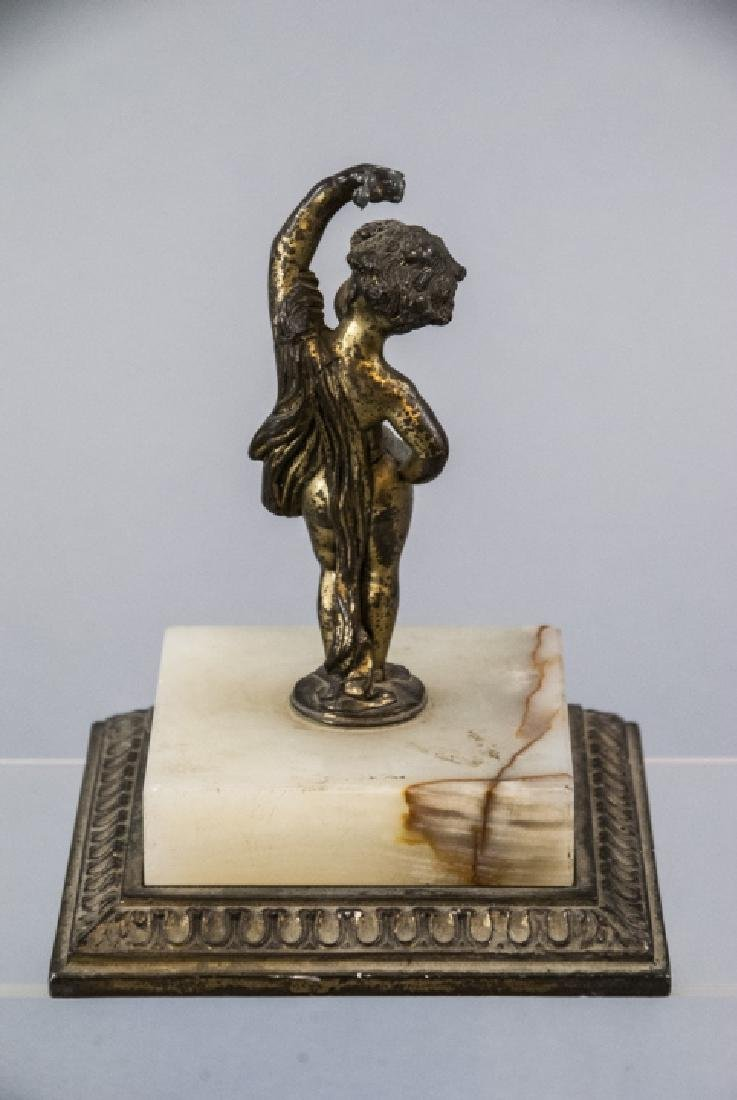 Antique Statue of a Cherub on a Carved Marble Base - 4