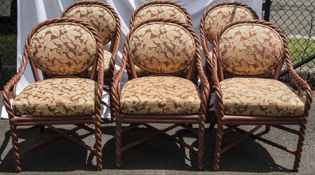 Six Vintage Faux Bamboo Dining / Arm Chairs