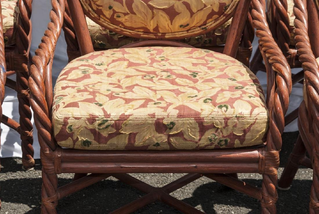 Six Vintage Faux Bamboo Dining / Arm Chairs - 3